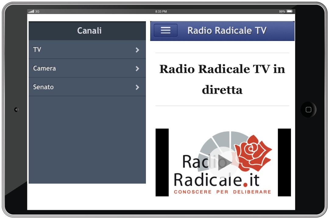 App iOS di Radio Radicale TV